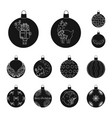 balls for decoration black icons in set collection vector image