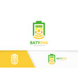 battery and wifi logo combination energy vector image vector image