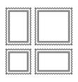 Blank postage stamps set on dark background