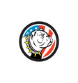 Bulldog Head USA Flag Circle Cartoon vector image vector image