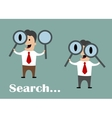Businessman looking through magnifying glasses vector image vector image