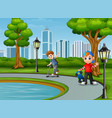 cartoon two boy playing in the city vector image vector image
