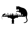 Cat playing with mouse vector image vector image