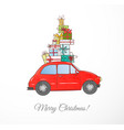 christmas card with vintage red car carrying gift vector image