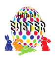 colorful happy easter with cute bunny and easter vector image