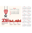 Construction Calendar 2016 vector image
