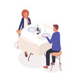 couple in restaurant isometric vector image