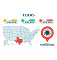 covid19-19 texas state usa map confirmed cases vector image vector image