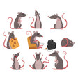 cute grey mouse set funny rodent character in vector image