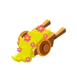 Decorative Wooden Wheel Barrel With Flowers vector image
