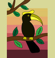 doodle freehand drawing hornbill vector image vector image