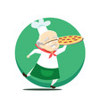 elderly overweight baker holds pizza in hand vector image vector image