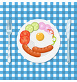 fried eggs and sausages on a white plate vector image vector image