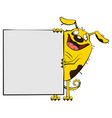 fun yellow dog show blank white sheet of paper vector image