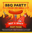 grill sausage for barbecue party poster vector image