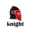 knight warrior helmet logo vector image