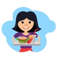 Little girl with fast food in his hands vector image vector image