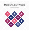 medical services infographic 10 option color vector image vector image