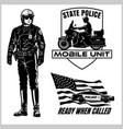 motorcycle cop - retro clip art police badges vector image vector image
