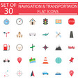 navigation flat icon set transport signs vector image