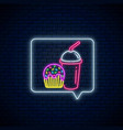 neon sign glazed cake and smoothies cup in vector image vector image