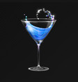 realistic cocktail blue lagoon glass vector image vector image