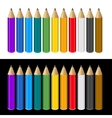 set color pencils on white and black background vector image