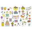 set of doodles birthday design elements hand vector image