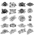 Set tattoo style roses design element