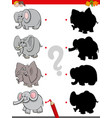 shadow game with funny elephant characters vector image vector image
