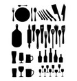 silhouette kitchen tools vector image vector image