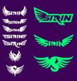 sirin symbol and wordmark set vector image vector image