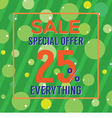 Special Offer 25 Percent On Colorful Green Bubbles vector image vector image