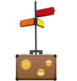 Street sign and travel suitcase vector image vector image