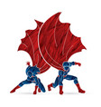 strong man and woman couple superhero landing vector image vector image