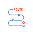 thin line route with waypoints vector image vector image