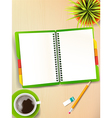 Top view of stationary pen pencil eraser green vector image