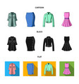 women clothing cartoonblackflat icons in set vector image vector image