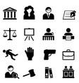 law legal justice icon set vector image