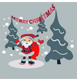 santa claus cartoon character in forest vector image