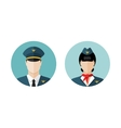 Pilot and stewardess icons vector image