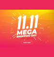 1111 mega shopping day sale poster or flyer vector image vector image
