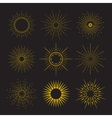 9 Art deco vintage sunbursts collection with vector image vector image