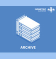 archive icon isometric template for web design vector image vector image