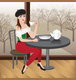 beautiful woman sitting in cafe with cup of tea vector image
