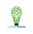 bulb lamp and people tree logo design vector image vector image