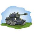 cartoon gray military army large tank vector image vector image