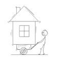 cartoon man pushing his house on handcart or vector image vector image
