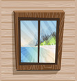 cartoon window view sunny day on paradise island vector image