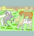 children colored cartoon horses grazing on meadow vector image